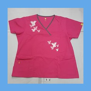 Wonder Wink Scrub Top Artsy Arch Butterfly Hot Pink/Pewter Trim OVERSTOCK Scrubs Top Artsy Arch Butterfly Hot Pink/Pewter Trim